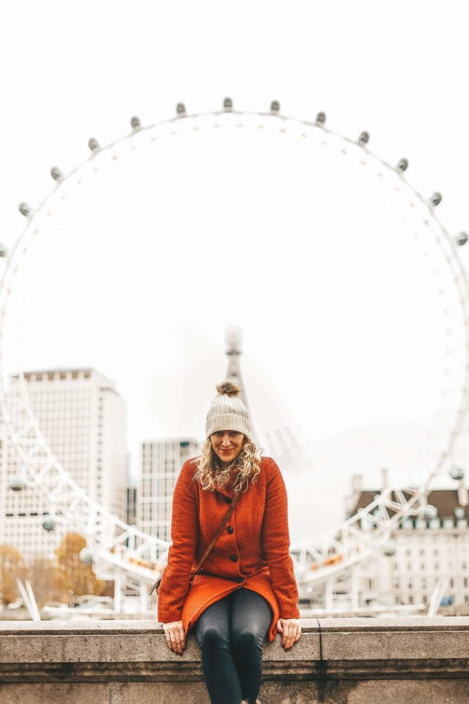 IMAGE Founder Claire Summers sat in front of the London Eye | About Good Girls | web design services for small business