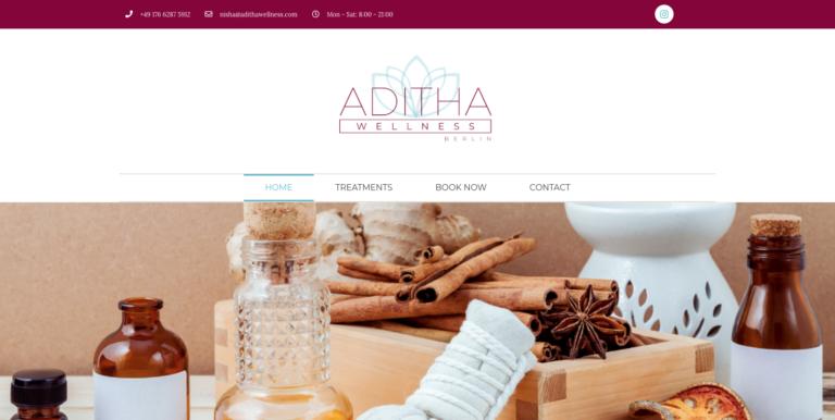 Nisha Bhakoo Aditha Wellness website design